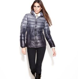 KENSIE | Gray Ombré Quilted Packable Puffer